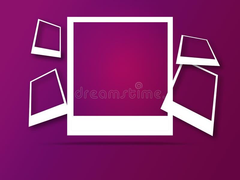 Πλαίσια φωτογραφιών με το διάστημα για το κείμενο και τη μαλακή σκιά διανυσματική απεικόνιση