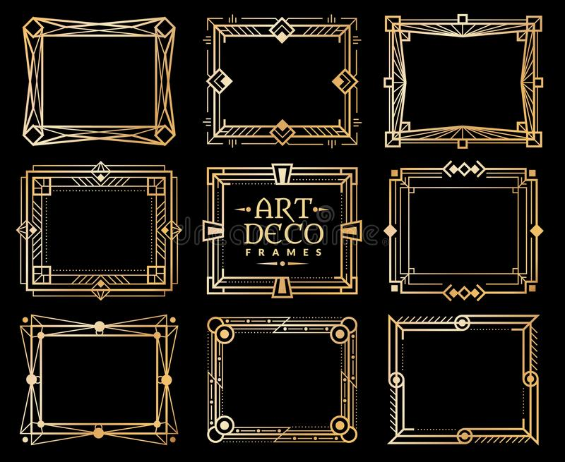 Πλαίσια deco τέχνης Χρυσά gatsby σύνορα πλαισίων deco, χρυσό ρομαντικό σχέδιο γραμμών πρόσκλησης αναδρομικό σχέδιο τέχνης πολυτέλ διανυσματική απεικόνιση