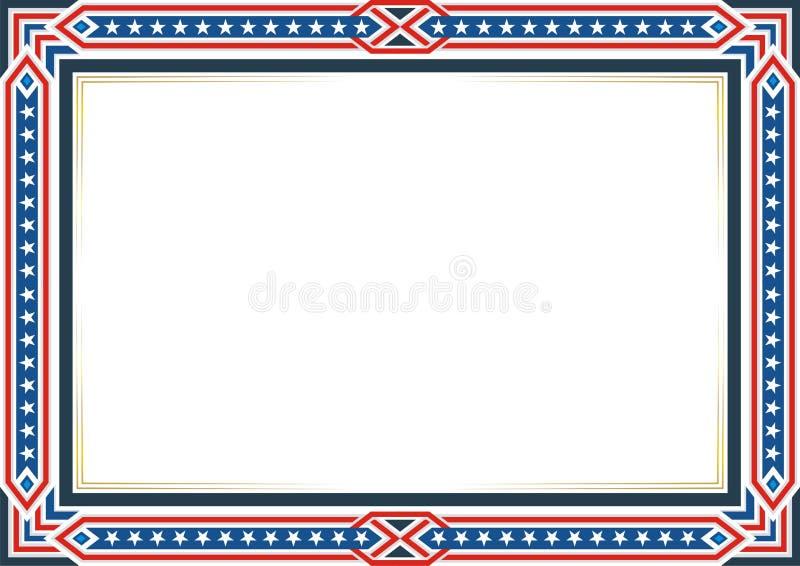 Πλαίσιο ή σύνορα, με το πατριωτικά ύφος αμερικανικών σημαιών και το σχέδιο χρώματος απεικόνιση αποθεμάτων