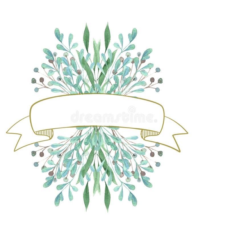 Πλαίσιο απεικόνισης του πράσινου κειμένου κλαδίσκων στοκ εικόνες