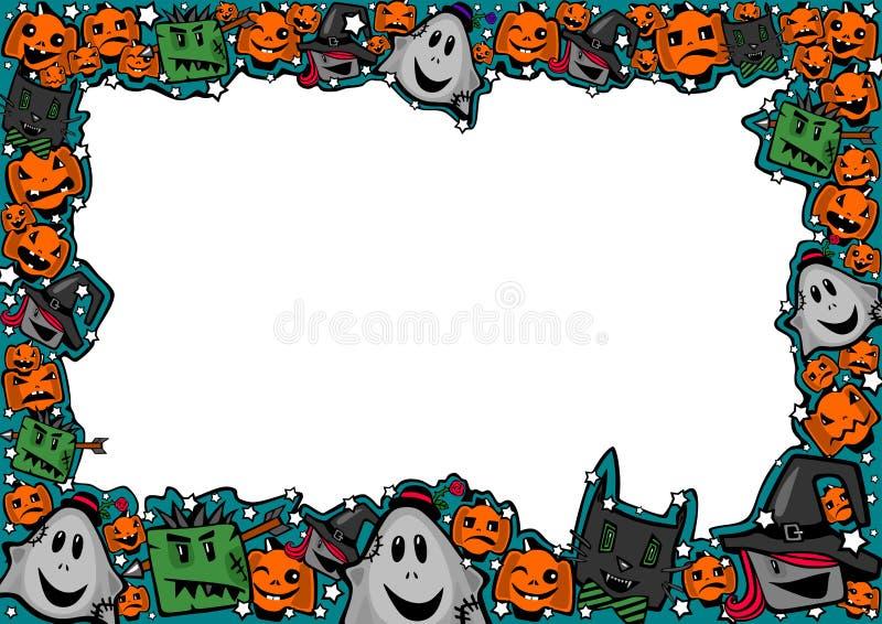Πλαίσιο αποκριών με τις μάγισσες, zombies, τα φαντάσματα, τις γάτες και τις κολοκύθες διανυσματική απεικόνιση