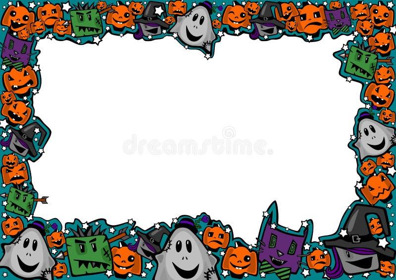 Πλαίσιο αποκριών με τις μάγισσες, zombies, τα φαντάσματα, τις γάτες και τις κολοκύθες ελεύθερη απεικόνιση δικαιώματος