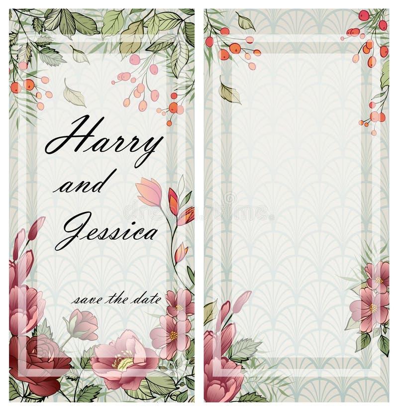 Πλαίσιο γαμήλιας πρόσκλησης  λουλούδια, φύλλα, watercolor διανυσματική απεικόνιση