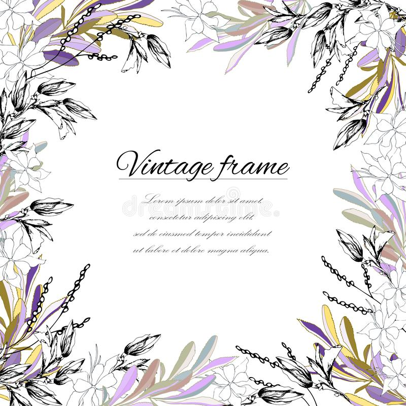 Πλαίσιο για το κείμενο στο εκλεκτής ποιότητας ύφος Χρωματισμένα λουλούδια και φύλλα σε ένα άσπρο υπόβαθρο, για τη διακόσμηση, έγγ απεικόνιση αποθεμάτων
