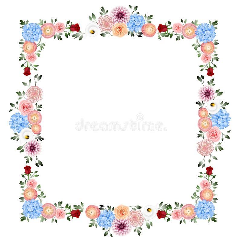 Πλαίσιο διακοσμήσεων λουλουδιών απεικόνιση αποθεμάτων
