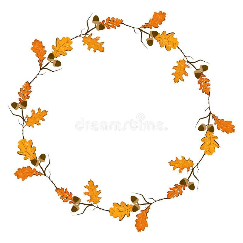 Πλαίσιο εποχής φθινοπώρου με την κολοκύθα, δρύινα φύλλα, akorn, ξηρός κλάδος Στοιχείο διακοσμήσεων πτώσης για τις κάρτες και το ε διανυσματική απεικόνιση
