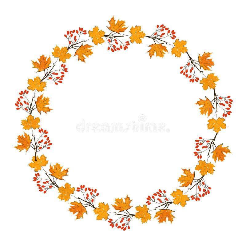 Πλαίσιο εποχής φθινοπώρου με την κολοκύθα, τα φύλλα σφενδάμου και τα κόκκινα μούρα, ξηρός κλάδος Στοιχείο διακοσμήσεων πτώσης για απεικόνιση αποθεμάτων