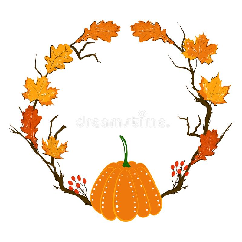 Πλαίσιο εποχής φθινοπώρου με την κολοκύθα, τα φύλλα σφενδάμου και τα κόκκινα μούρα, ξηρός κλάδος Στοιχείο διακοσμήσεων πτώσης για διανυσματική απεικόνιση