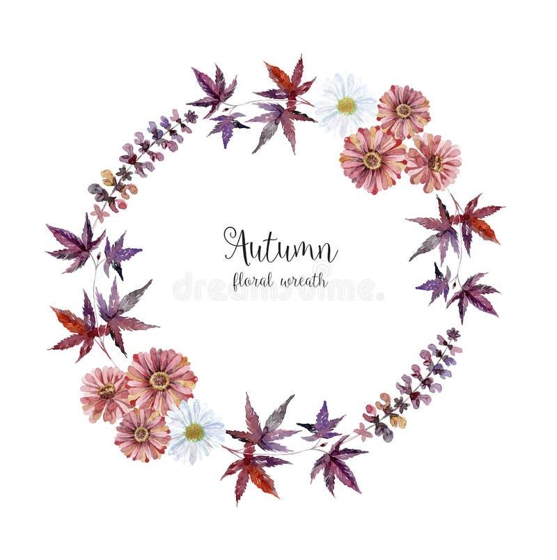 Πλαίσιο ερμπαρίων Watercolor με τα λουλούδια και το δασικό φύλλο στοκ φωτογραφίες