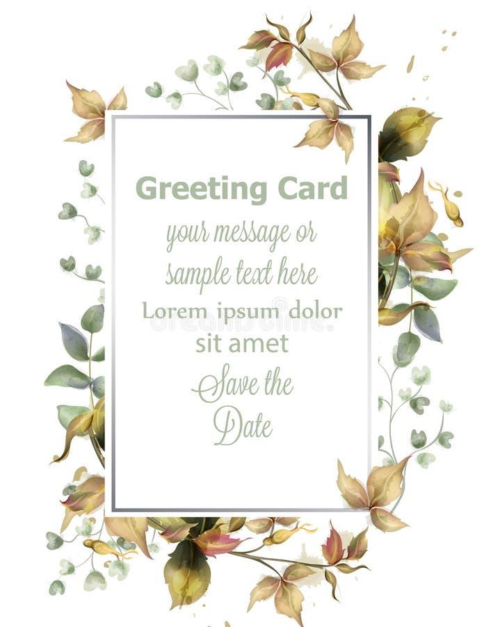 Πλαίσιο ευχετήριων καρτών με το διάνυσμα φύλλων φθινοπώρου Απλά σύγχρονα όμορφα ντεκόρ σχεδίου ελεύθερη απεικόνιση δικαιώματος