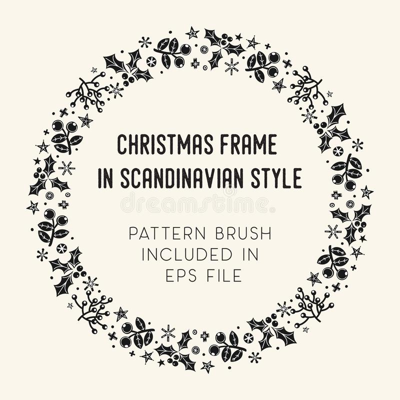 Πλαίσιο και βούρτσα Χριστουγέννων με τα κεραμίδια γωνιών απεικόνιση αποθεμάτων