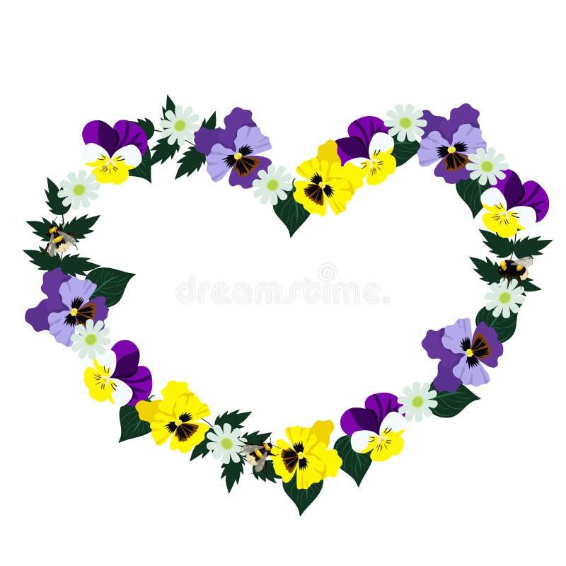 Πλαίσιο καρδιών φιαγμένο από pansies o r διανυσματική απεικόνιση
