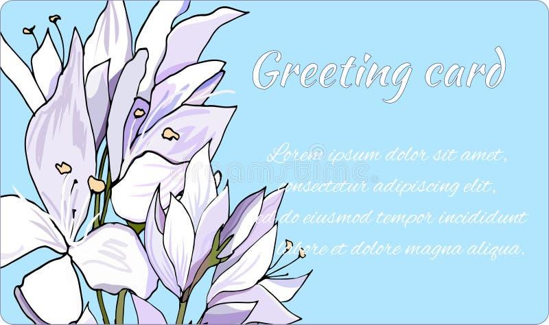 Πλαίσιο κειμένων για τους χαιρετισμούς και τις προσκλήσεις Ελαφριά λουλούδια σε ένα μπλε υπόβαθρο r διανυσματική απεικόνιση