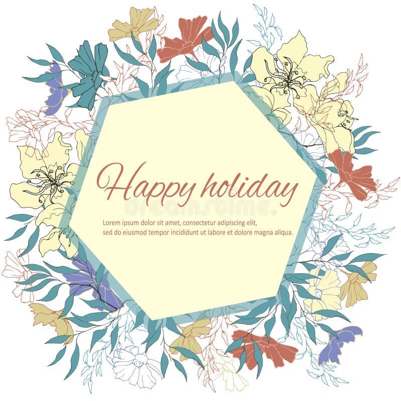 Πλαίσιο κειμένων με τα λεπτά λουλούδια watercolor Πρότυπο για τις κάρτες, χαιρετισμοί, προσκλήσεις Εκλεκτής ποιότητας λουλούδια,  διανυσματική απεικόνιση