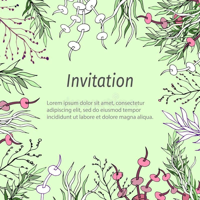 Πλαίσιο κειμένων με τα πράσινα και φύλλα περιγράμματος Πρότυπο για τις κάρτες, χαιρετισμοί, προσκλήσεις διανυσματική απεικόνιση