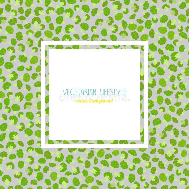 Πλαίσιο κειμένων μπρόκολου Ποικιλία πράσινων λάχανων συγκομιδών απεικόνιση αποθεμάτων