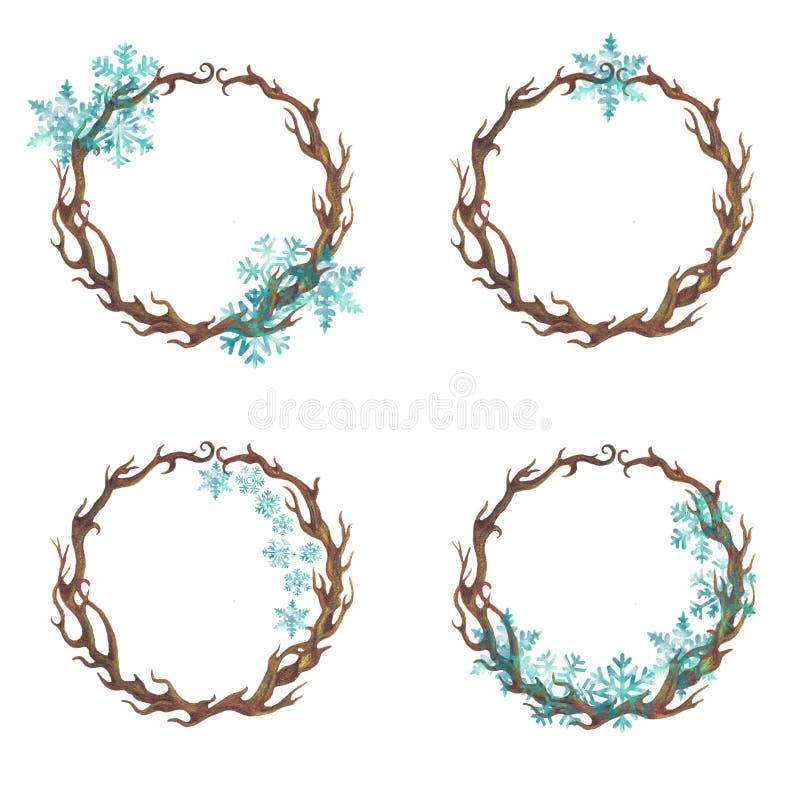 Πλαίσιο κλάδων με snowflakes διανυσματική απεικόνιση