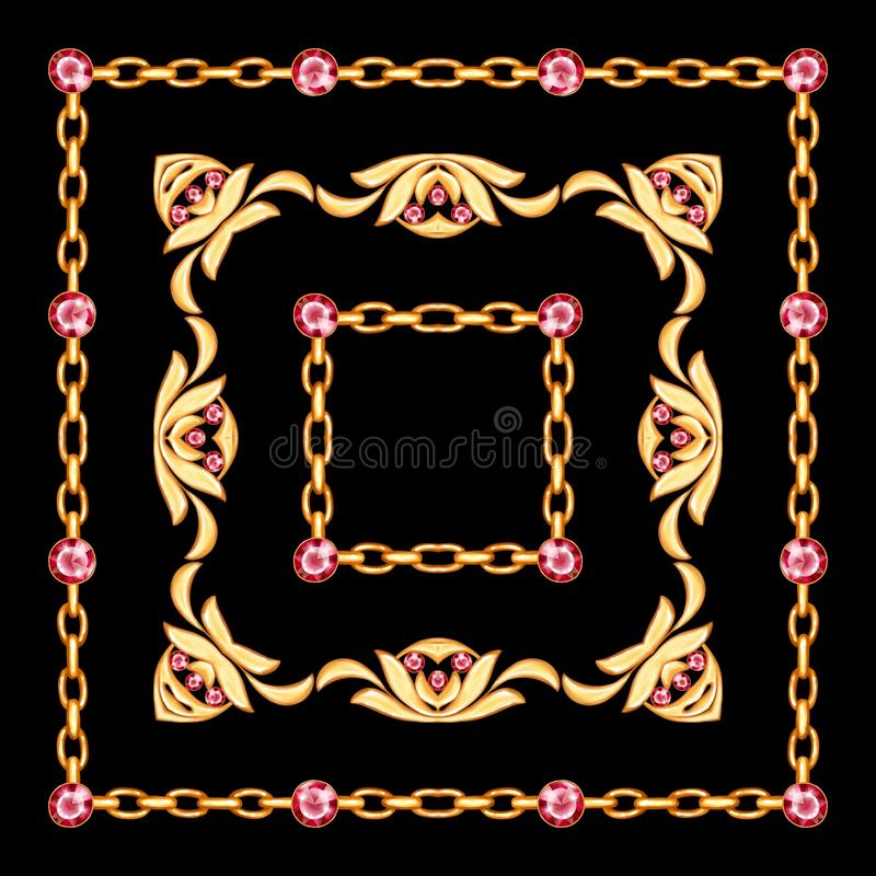 Πλαίσιο κοσμήματος με τη χρυσή αλυσίδα στο μαύρο υπόβαθρο ελεύθερη απεικόνιση δικαιώματος