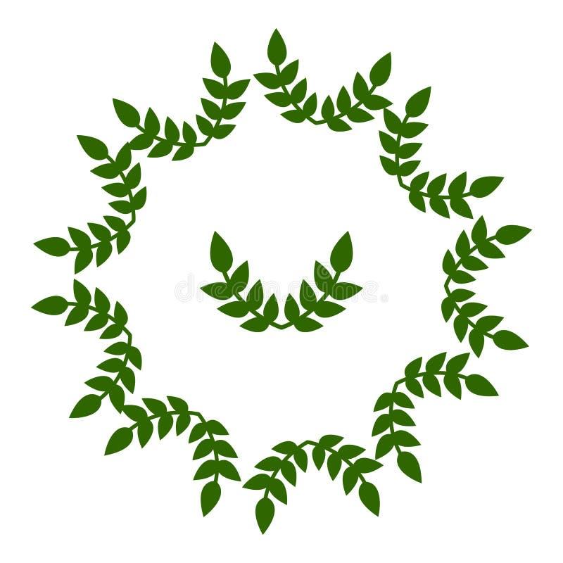 Πλαίσιο κύκλων από τα φύλλα Γαμήλιες διακοσμήσεις, προσκλήσεις Πράσινη σκιαγραφία Διανυσματική απεικόνιση για το σχέδιό σας, Ιστό διανυσματική απεικόνιση