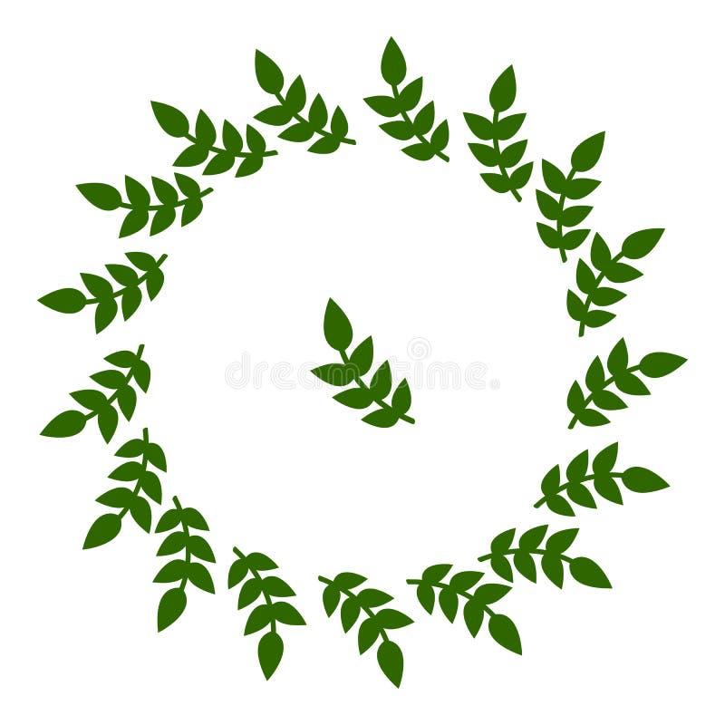 Πλαίσιο κύκλων από τα φύλλα Γαμήλιες διακοσμήσεις, προσκλήσεις Πράσινη σκιαγραφία Διανυσματική απεικόνιση για το σχέδιό σας, Ιστό απεικόνιση αποθεμάτων