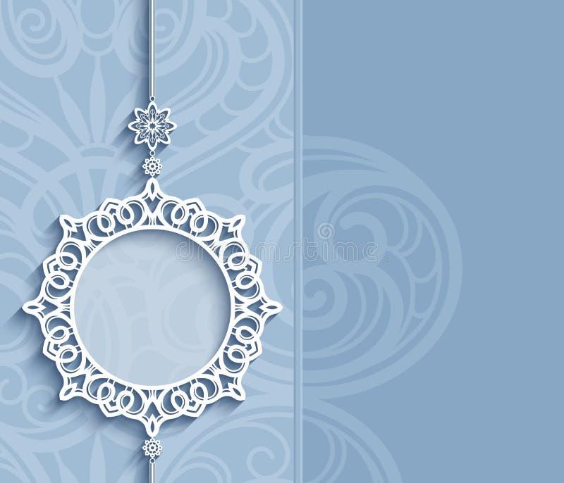 Πλαίσιο κύκλων, κρεμαστό κόσμημα δαντελλών στο μπλε υπόβαθρο διανυσματική απεικόνιση