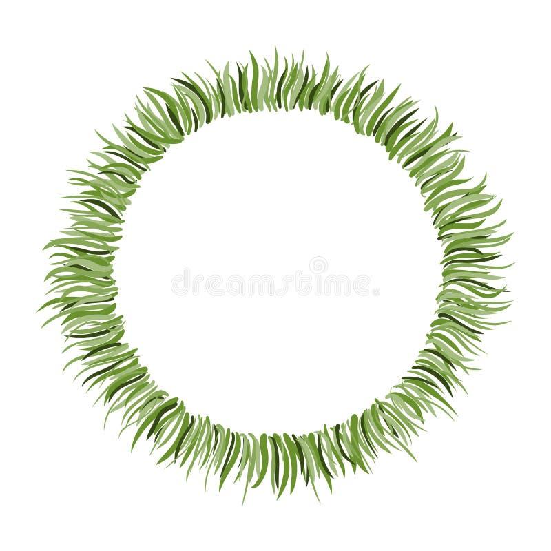 Πλαίσιο κύκλων με συρμένη τη χέρι πράσινη χλόη απεικόνιση αποθεμάτων