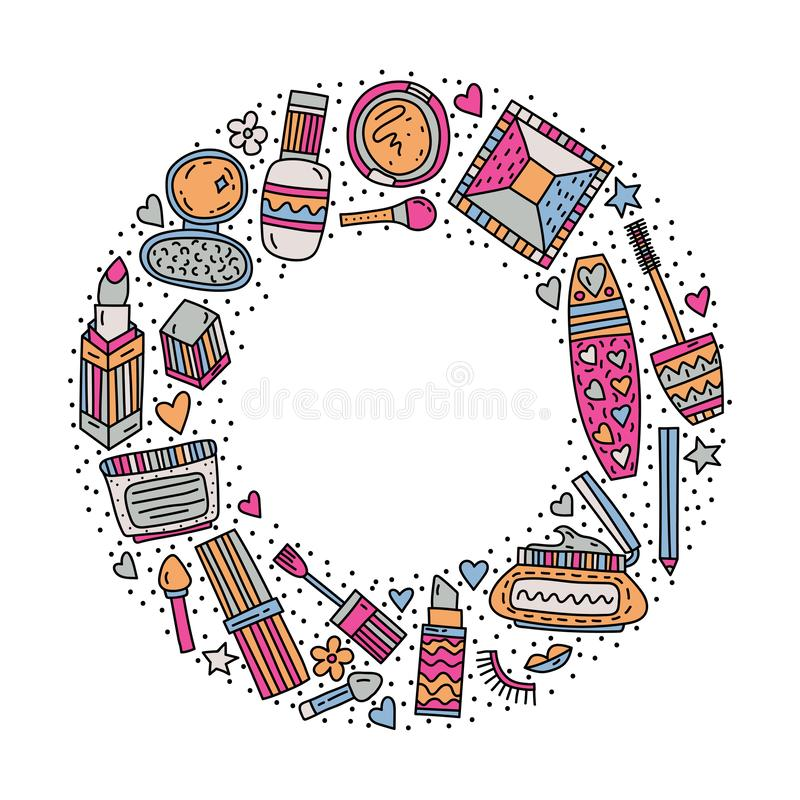 Πλαίσιο κύκλων με την απεικόνιση makeup doodle στοκ φωτογραφία