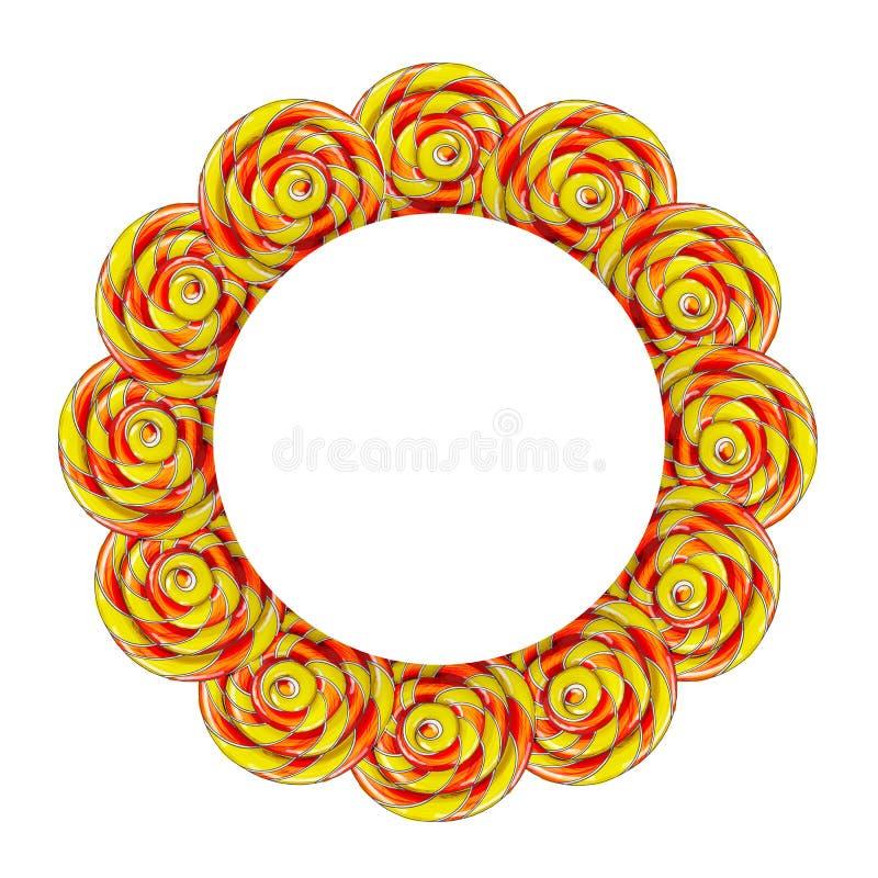 Πλαίσιο κύκλων φιαγμένο από ζωηρόχρωμη καραμέλα lollipop απεικόνιση αποθεμάτων
