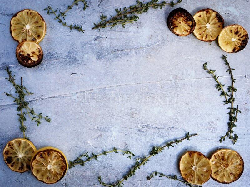 Πλαίσιο λεμονιών και θυμαριού με το διάστημα αντιγράφων στοκ φωτογραφία