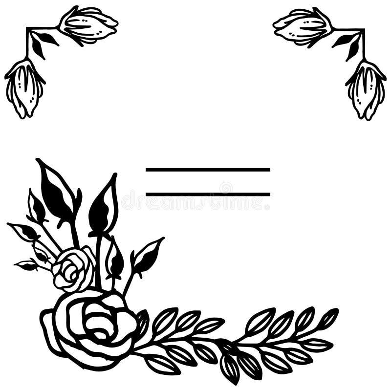 Πλαίσιο λουλουδιών και διακοσμητικά σύνορα, στο άσπρο υπόβαθρο r απεικόνιση αποθεμάτων