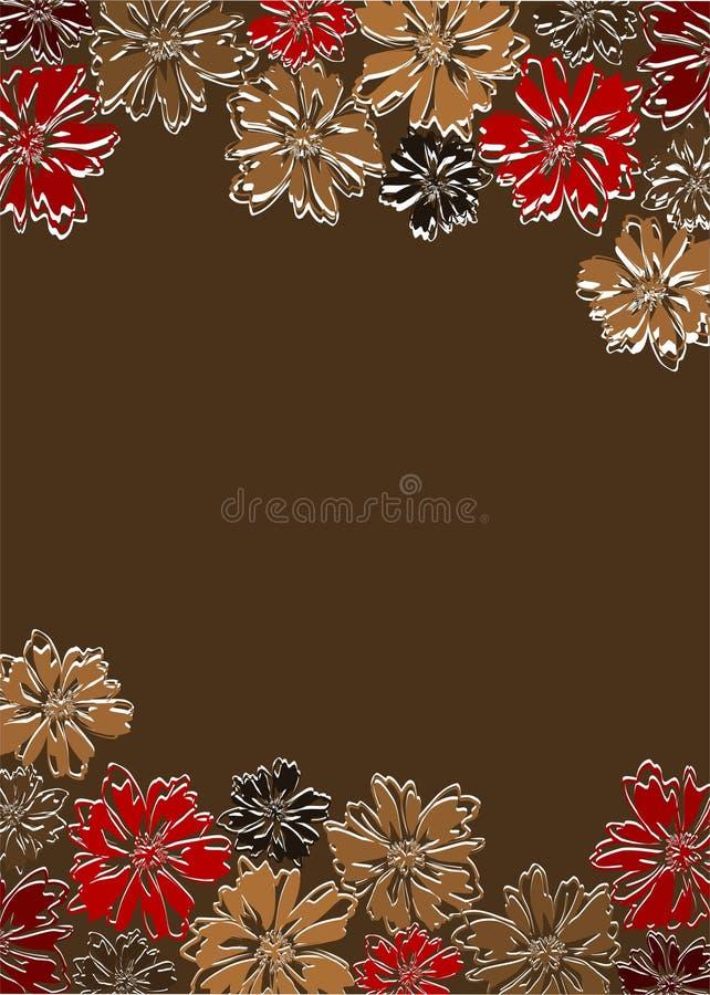 Πλαίσιο με τα αφηρημένα λουλούδια στο καφετί υπόβαθρο στοκ φωτογραφίες