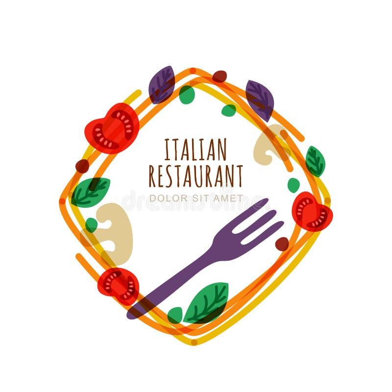 Πλαίσιο με τα ιταλικά μακαρόνια, ντομάτα, βασιλικός, δίκρανο Διανυσματικό λογότυπο, σχέδιο εμβλημάτων διανυσματική απεικόνιση