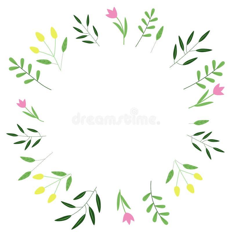Πλαίσιο με τα πράσινα φύλλα και τα λουλούδια διανυσματική απεικόνιση