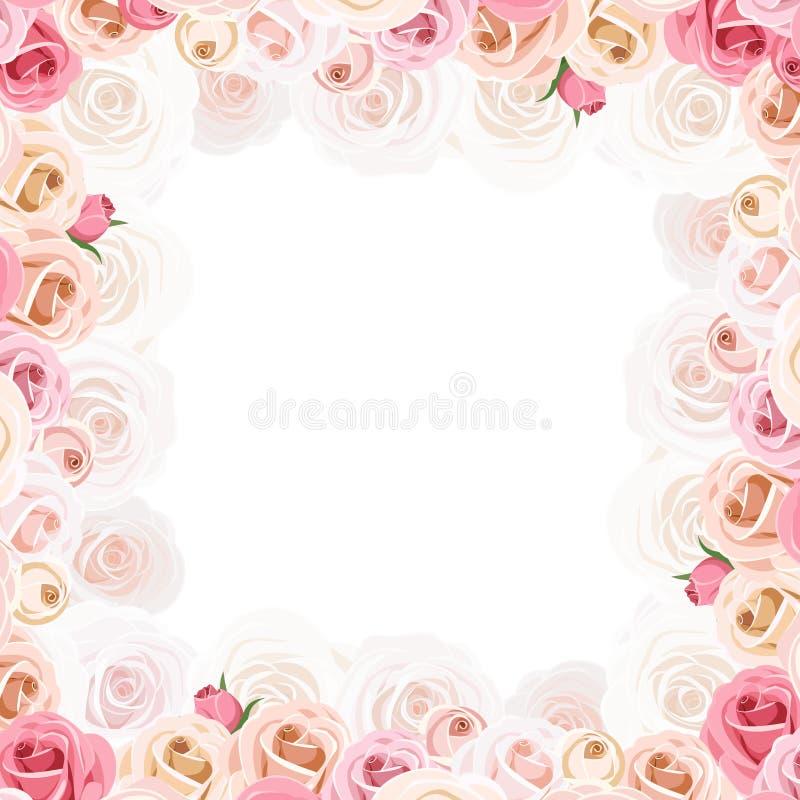 Πλαίσιο με τα ρόδινα και άσπρα τριαντάφυλλα επίσης corel σύρετε το διάνυσμα απεικόνισης διανυσματική απεικόνιση