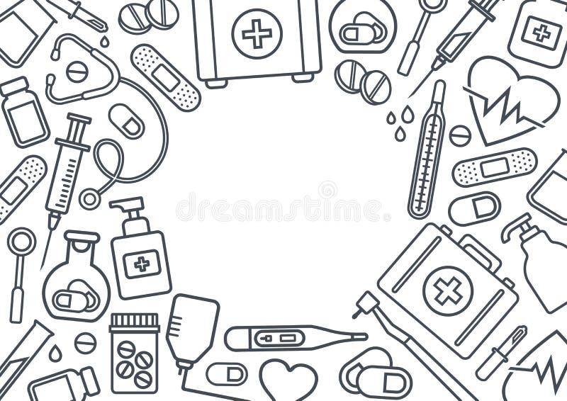 Πλαίσιο με τις ιατρικές συσκευές, μαύρη τέχνη γραμμών στο άσπρο υπόβαθρο r διανυσματική απεικόνιση