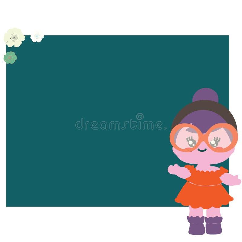 Πλαίσιο με το λουλούδι και το χαριτωμένο μωρό - κούκλα ελεύθερη απεικόνιση δικαιώματος
