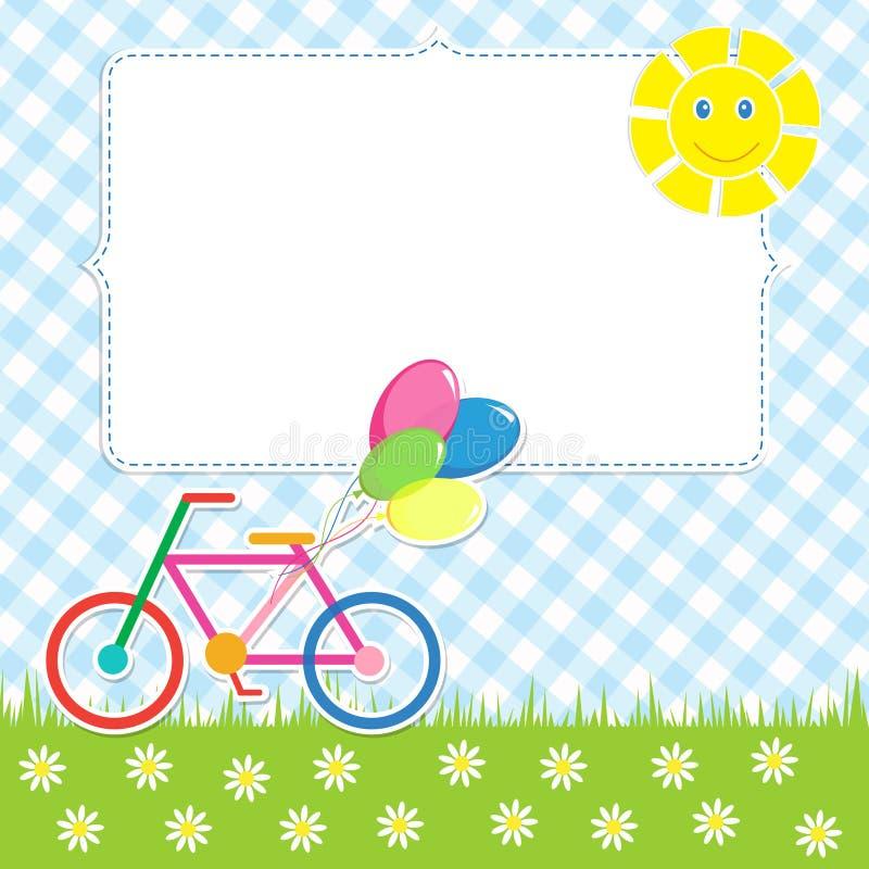 Πλαίσιο με το χαριτωμένο ποδήλατο απεικόνιση αποθεμάτων