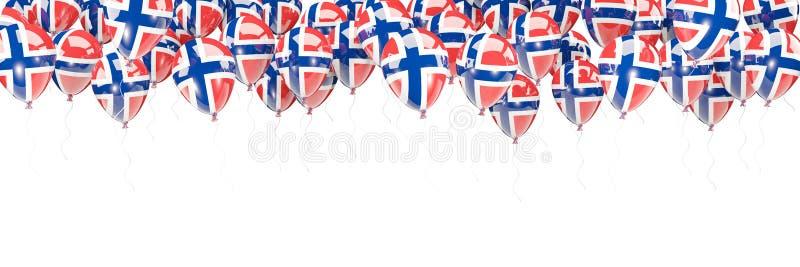 Πλαίσιο μπαλονιών με τη σημαία της Νορβηγίας απεικόνιση αποθεμάτων