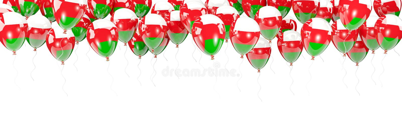 Πλαίσιο μπαλονιών με τη σημαία του Ομάν διανυσματική απεικόνιση