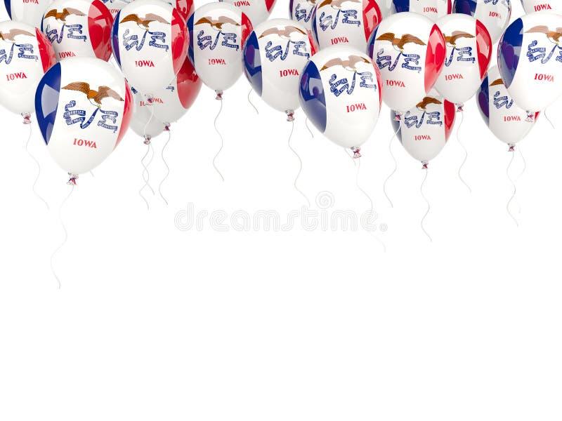Πλαίσιο μπαλονιών με τη σημαία του Iowa Ηνωμένες τοπικές σημαίες απεικόνιση αποθεμάτων