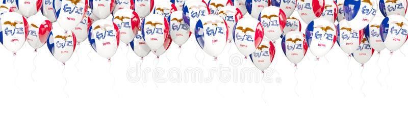 Πλαίσιο μπαλονιών με τη σημαία του Iowa Ηνωμένες τοπικές σημαίες διανυσματική απεικόνιση