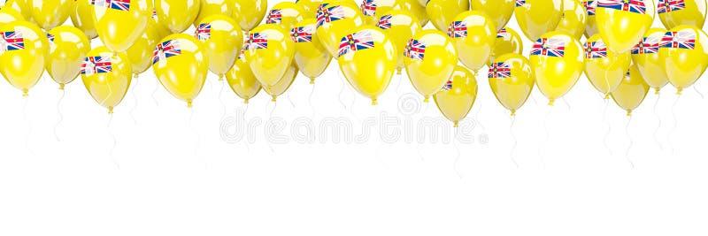 Πλαίσιο μπαλονιών με τη σημαία του niue διανυσματική απεικόνιση