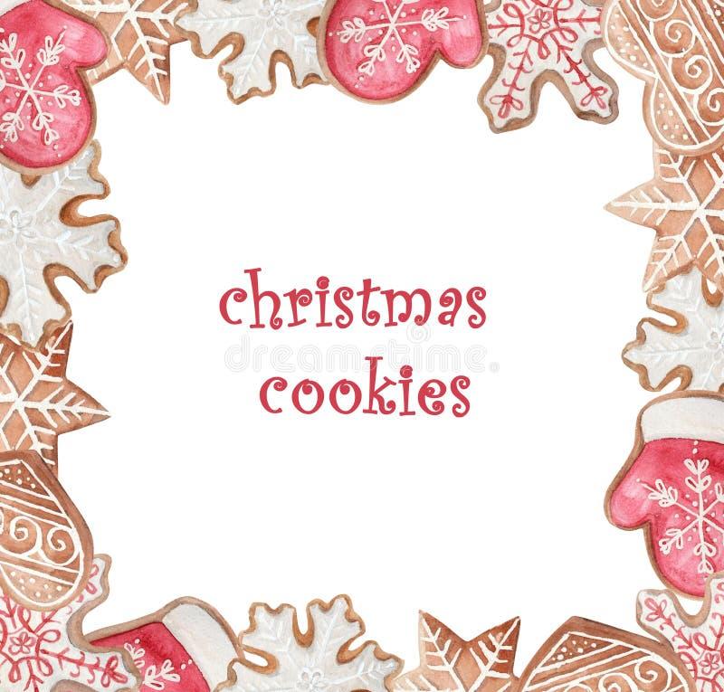 Πλαίσιο μπισκότων watercolor Χριστουγέννων ελεύθερη απεικόνιση δικαιώματος