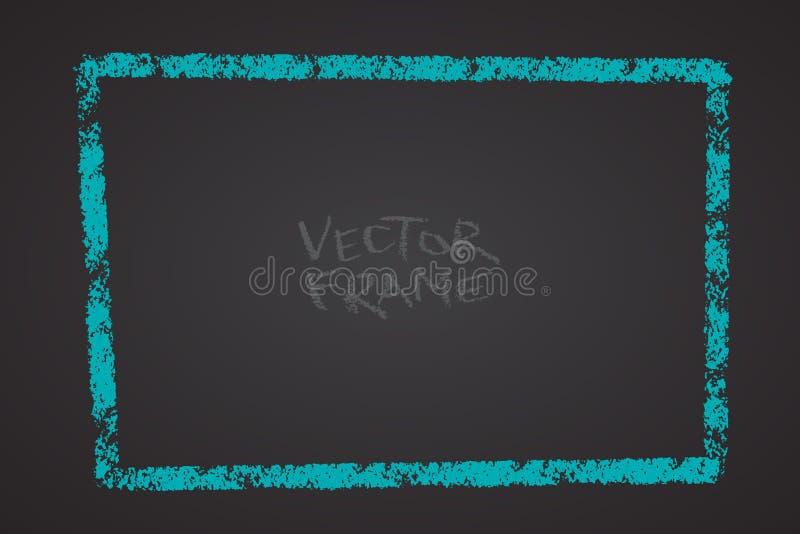 Πλαίσιο που σύρεται με ένα κραγιόνι Κενή μορφή κραγιονιών κεριών Διανυσματική εικόνα συρμένου του χέρι πλαισίου κτυπήματος Ορθογώ απεικόνιση αποθεμάτων