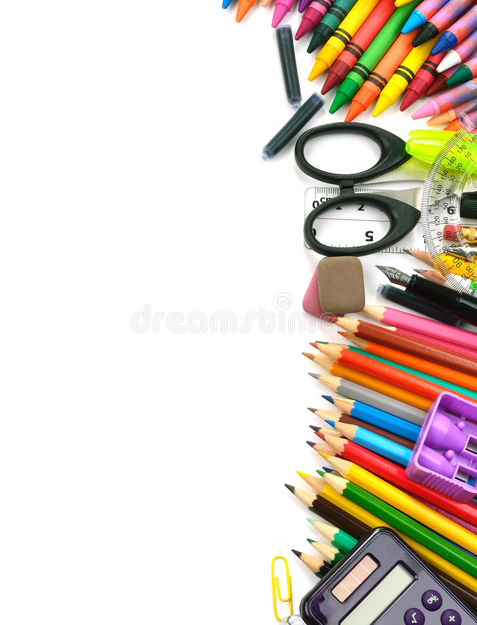 Πλαίσιο προμηθειών σχολείου και γραφείων στοκ εικόνες