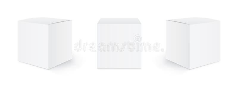 Πλαίσιο συσκευασίας από κενό χαρτόνι Σύνολο πλαισίων Τρία πρότυπα, διάταξη πλαισίων σε διαφορετικές θέσεις με σκιά για τη σχεδίασ απεικόνιση αποθεμάτων