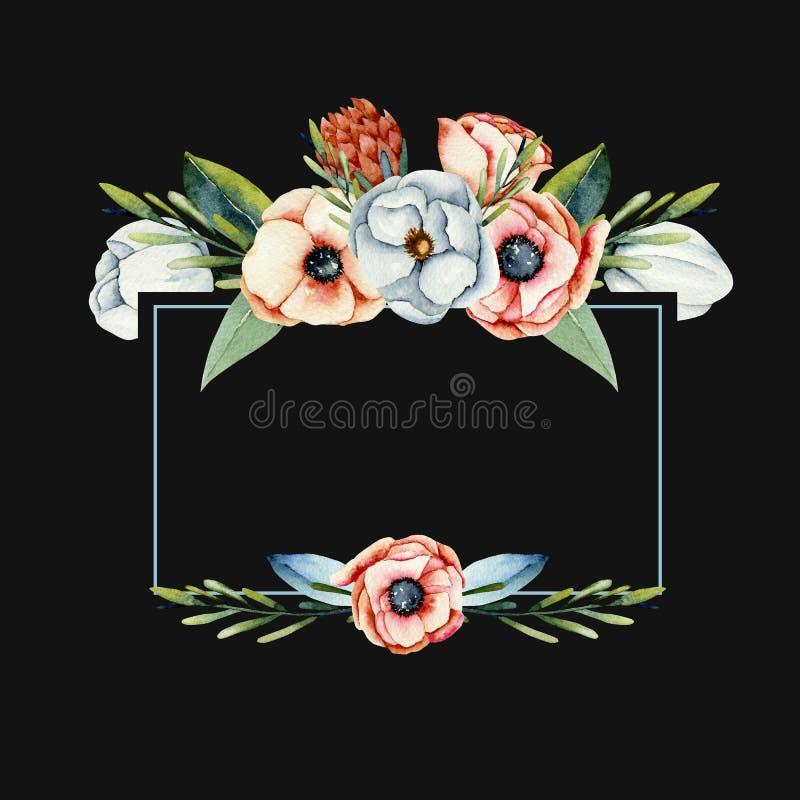 Πλαίσιο του κοραλλιού watercolor και των άσπρων λουλουδιών anemone και protea ελεύθερη απεικόνιση δικαιώματος