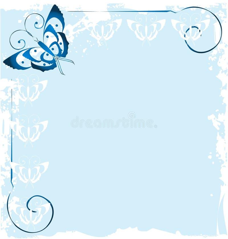 Πλαίσιο του μπλε διανύσματος υποβάθρου πεταλούδων ελεύθερη απεικόνιση δικαιώματος