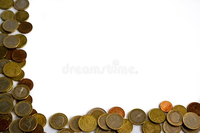 Πλαίσιο των απομονωμένων ευρο- νομισμάτων στοκ φωτογραφία