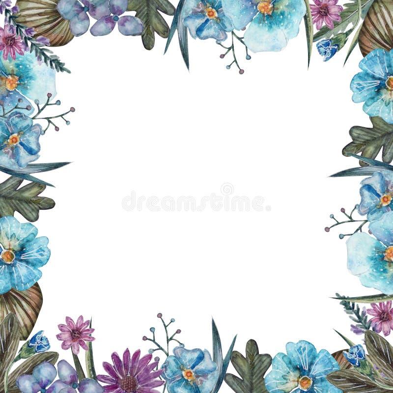 Πλαίσιο των θερινών λουλουδιών watercolor διανυσματική απεικόνιση